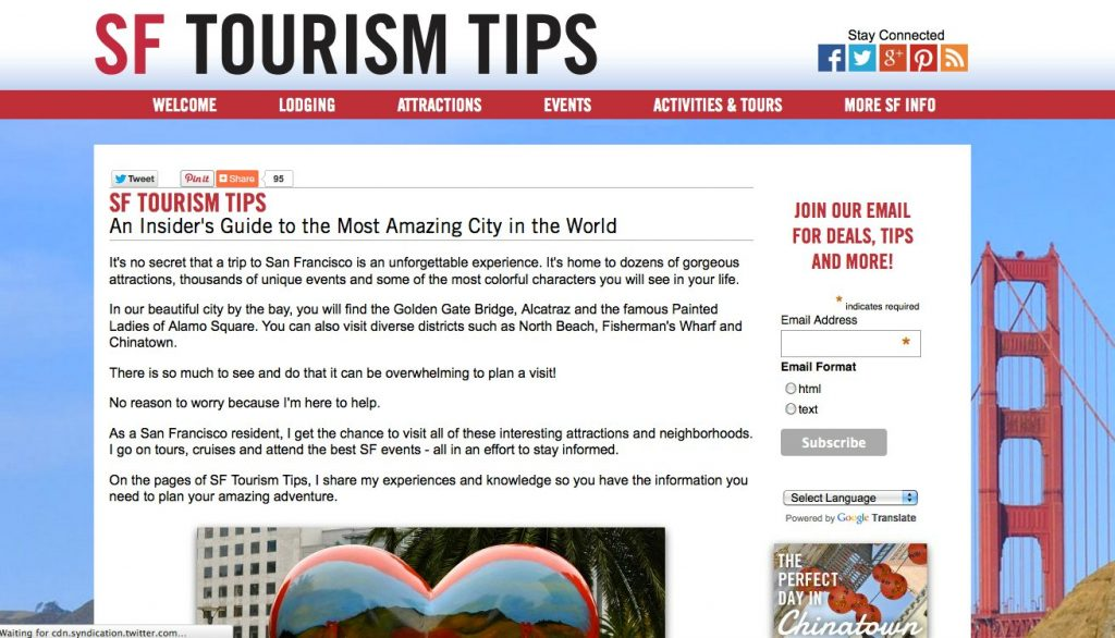 SF Tourism Tips' home page before the re-design.