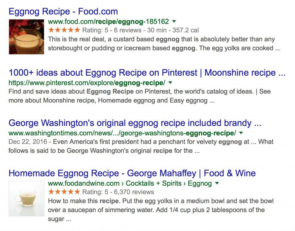 Google Search Recipe Eggnog