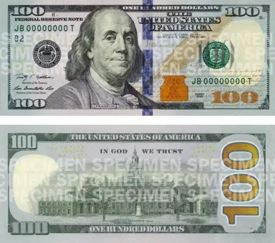 Éste es el nuevo billete de 100 dólares