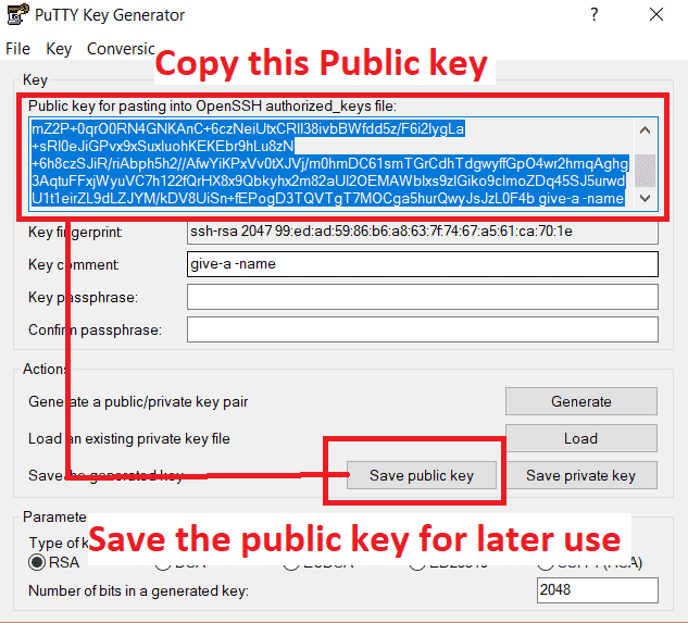 Save Private Key using PuTTY Key Generator