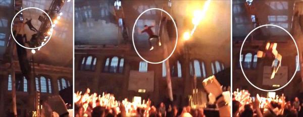 Video: Cantante se tira desde 12 metros esperando que los fans lo atajaran pero no..