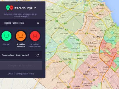 Acanohayluz.com.ar, un sitio muestra los cortes de luz en tiempo real