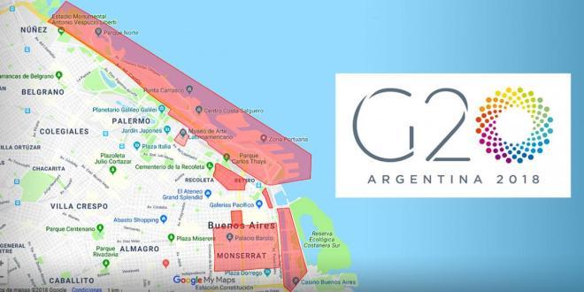 Mapa de Buenos Aires con todos los cortes de calles por el G20