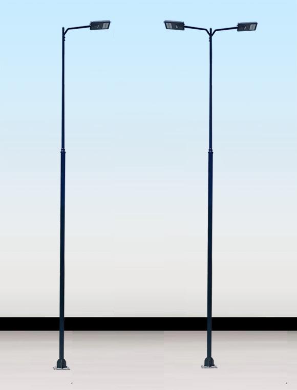 Poste-metalico-ornamental-para-alumbrado-publico-con-un-brazo-doble-brazo