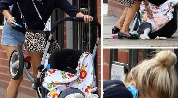 Insólito: Se le cae el Bebé pero sigue hablando por el móvil