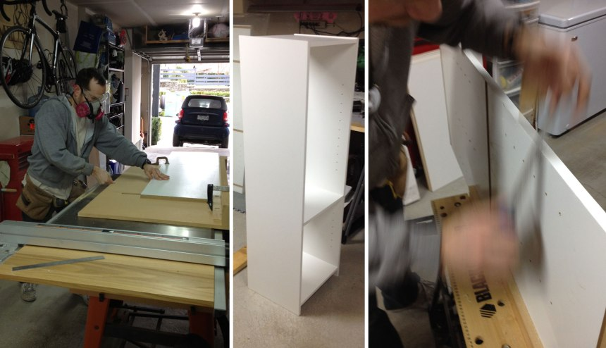 making the closet bookshelves