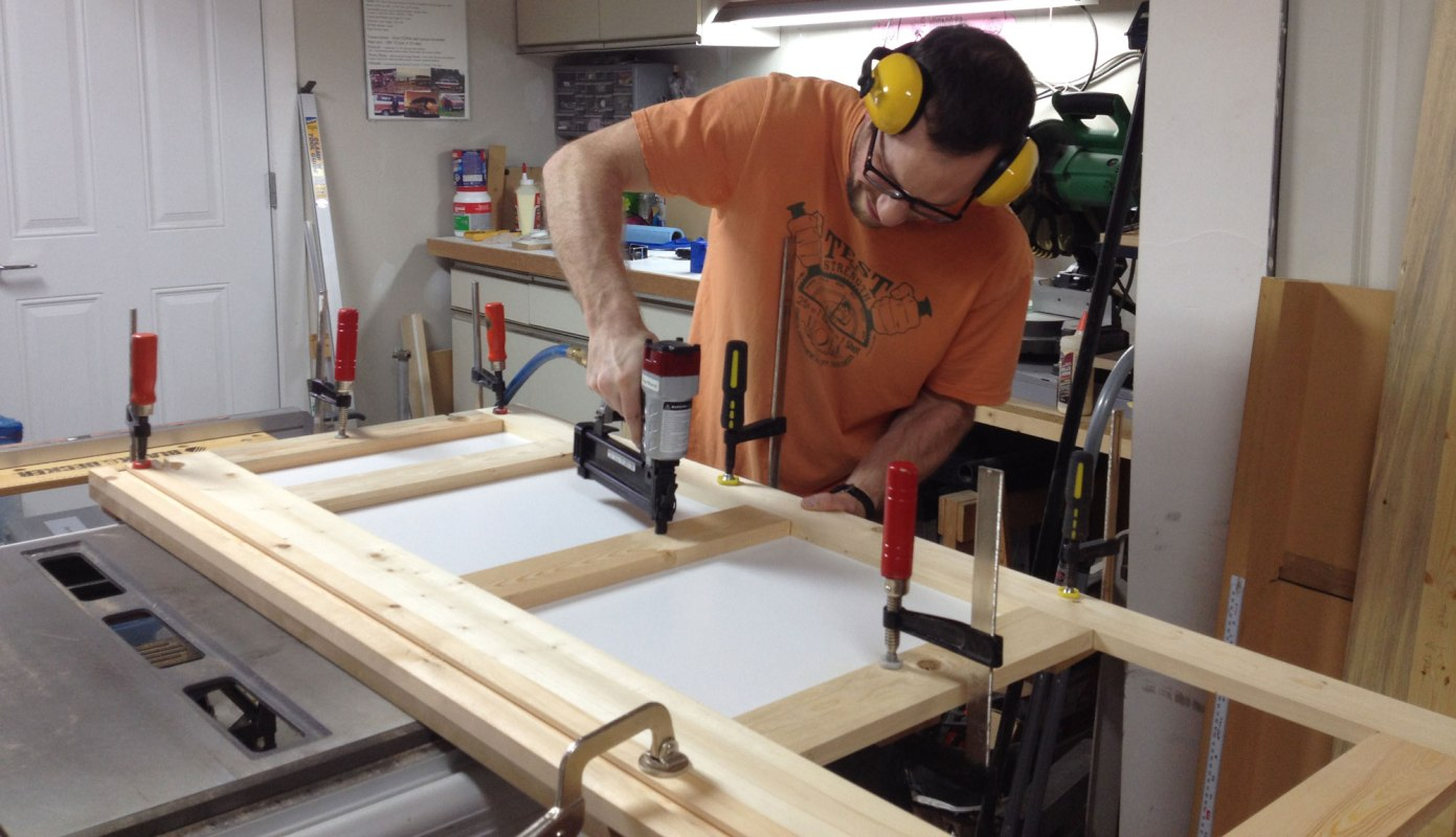 Nailing together the desk top frame structure