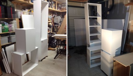 The shelving is assembled and ready to be installed