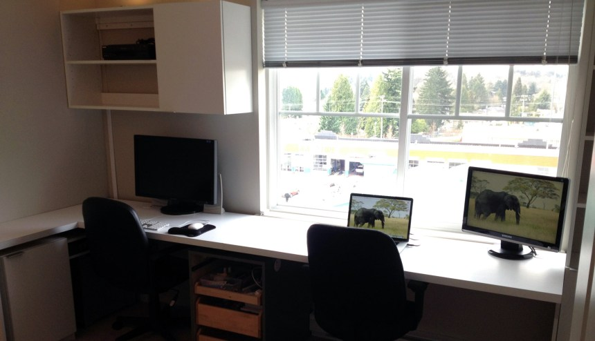 90% installed. We still have drawer and cabinet fronts to finish but it is starting to look like an office