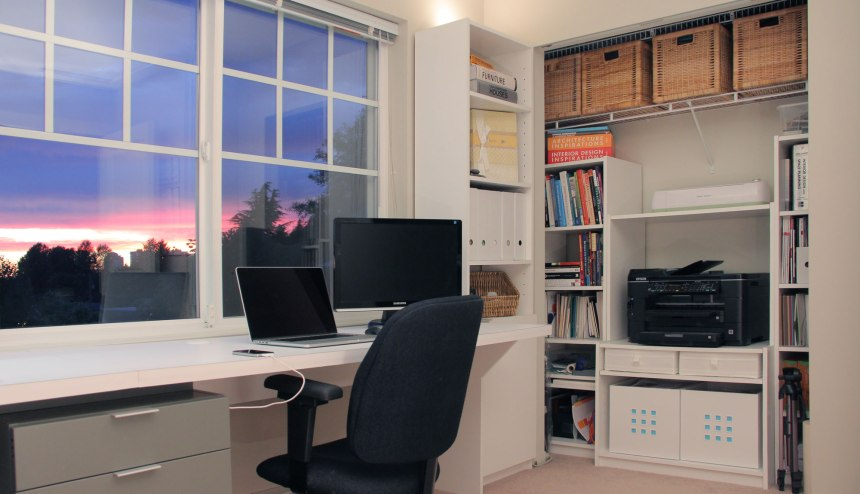 The right side of the desk and closet storage