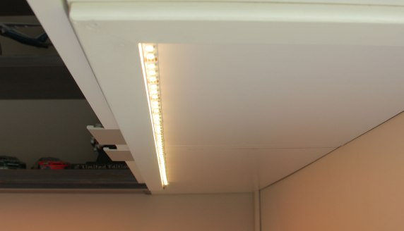LED lighting under the wall mounted cabinets to illuminate the work surface
