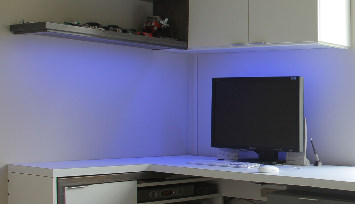 LED lights change color to add a little fun and creativity to the space