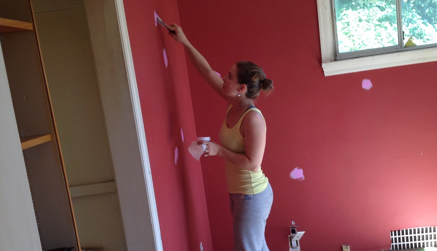 Master bedroom patching with the pink stuff