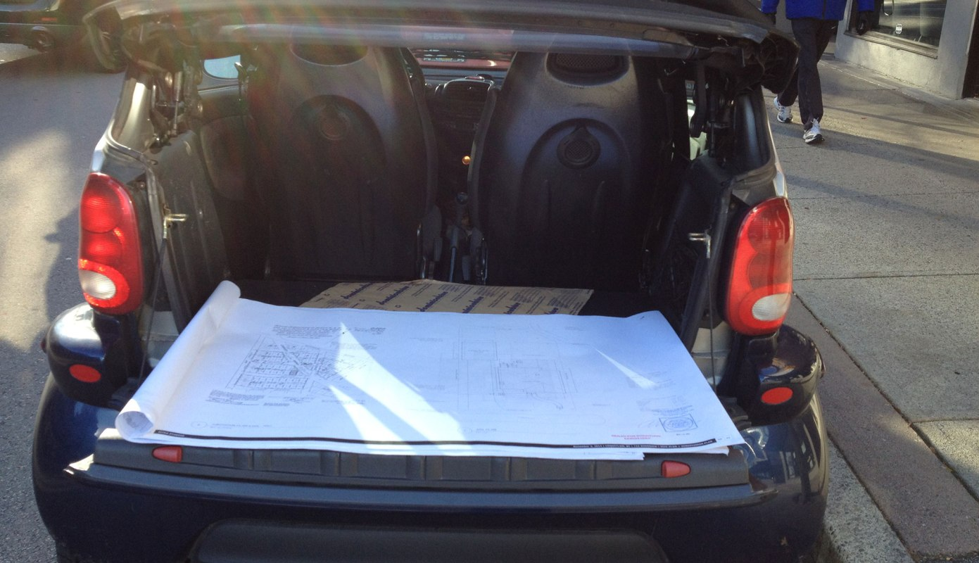 Who knew a smart car was such a fantastic drawing review table!