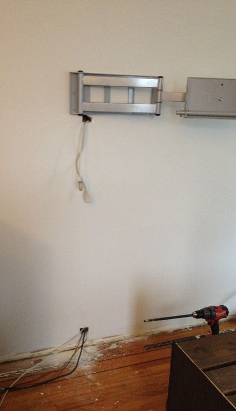 Wall mount up and wires dangling