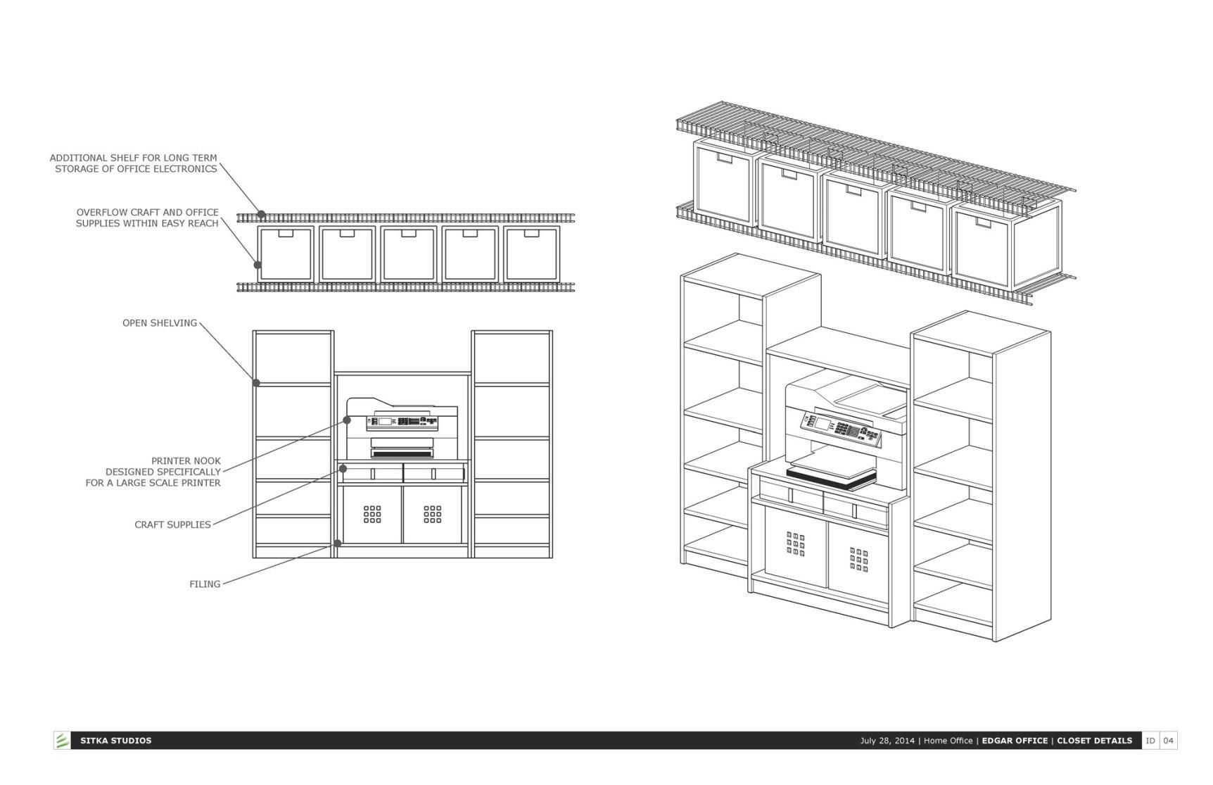 Storage unit built into the closet