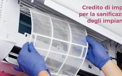 Credito di imposta per la sanificazione degli impianti