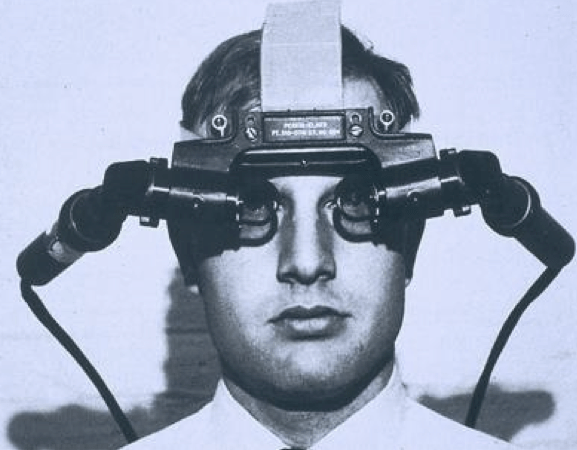 "The Sword of Damocles head-mounted display. ""The ultimate display would, of course, be a room within which the computer can control the existence of matter,"" Sutherland wrote in his 1965 essay. (Credit: Ivan Sutherland ""The Ultimate Display"")"