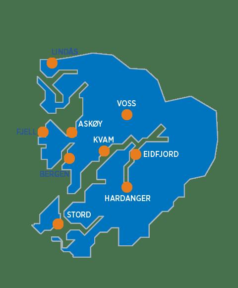 kart over Hordaland