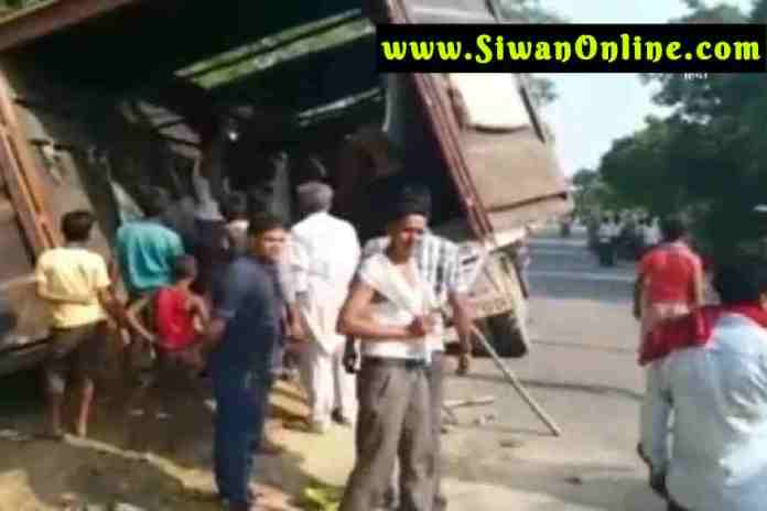 container accident in siwan