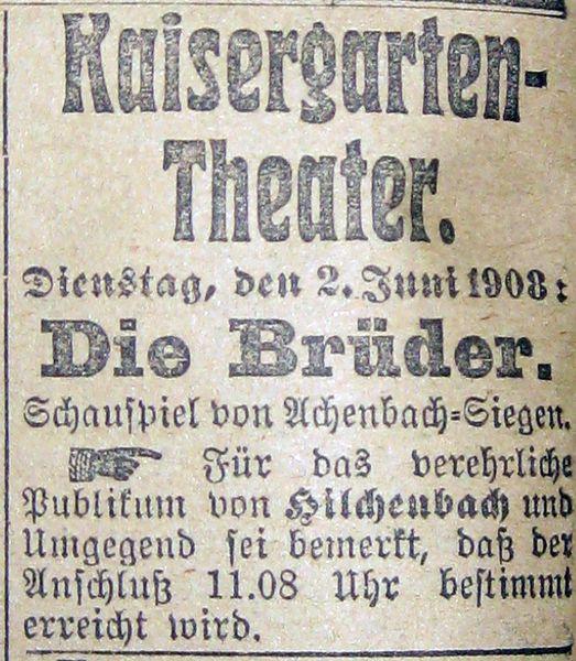 Quelle: Siegener Zeitung, 2. Juni 1908