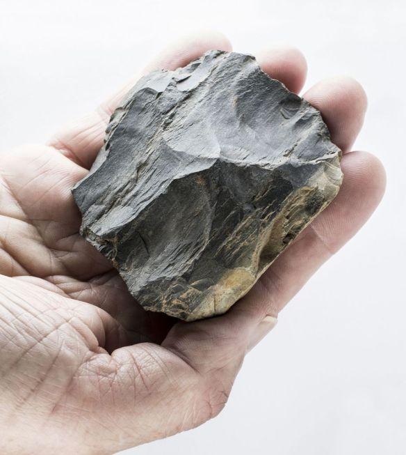 Auf den ersten Blick unscheinbar, aber mit wichtigem archäologischen Inhalt: Dieser Levallois-Kern ist ein Produkt des Neandertalers. Foto: LWL/H. Menne