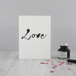 love card romantic love card calligraphy