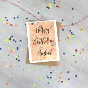 personalised marbled art greeting card