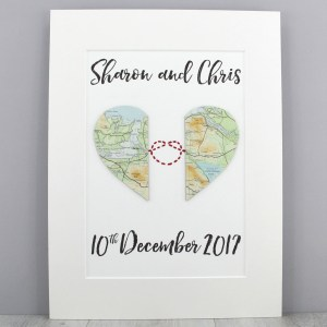 Love knot map artwork wedding gifts travel keepsakes