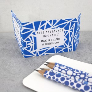 dots and dashes pack of blue dot pencils by six0six design