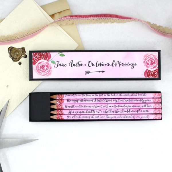Jane Austen on love and Marriage quote pencils by six0six design made in Ireland