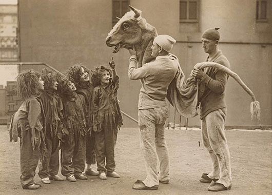 Kids and a Cow Puppet (Source: State Library of New South Wales/Flickr)