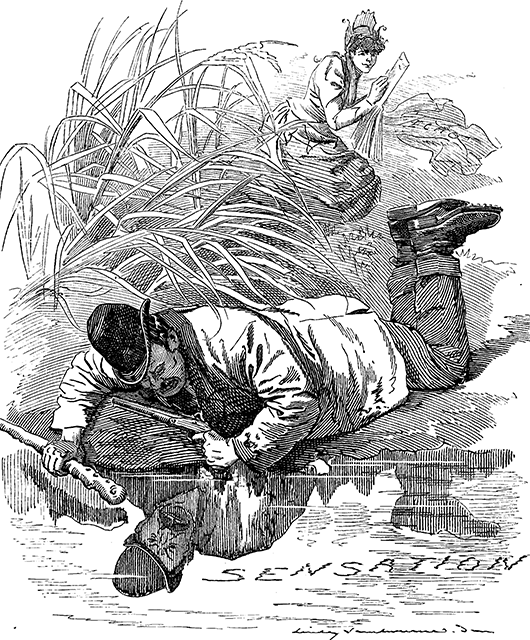 """Cartoon from Punch magazine, captioned """"The Newest Narcissus; or, The Hero of our days"""" (Source: Wikimedia Commons)"""