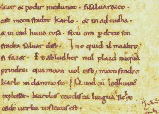 Portion of Oaths of Strasbourg (Source: Wikimedia Commons)