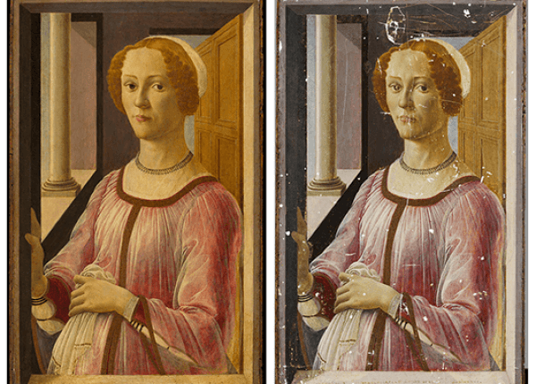 "Botticelli's ""Portrait of a Lady, Known as Smeralda Bandinelli,"" after and before restoration (Source: Victoria and Albert Museum)"