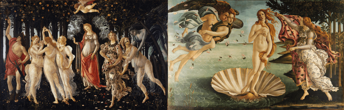 "Botticelli's ""La Primavera"" & ""The Birth of Venus"" (Source: Wikimedia Commons)"