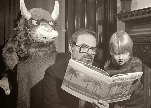 "Maurice Sendak, reading from his book ""Where the Wild Things Are"" (Source: Self-Styled Siren)"
