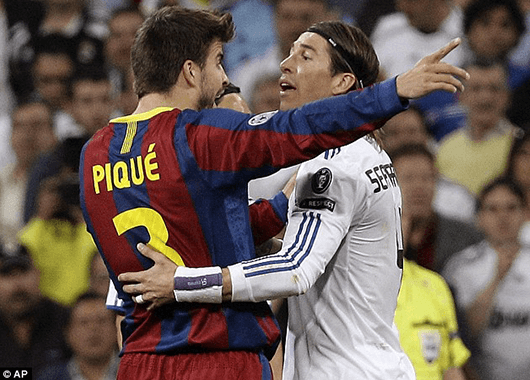 Gerard Piqué and Sergio Ramos (Source: Associated Press/Daily Mail)