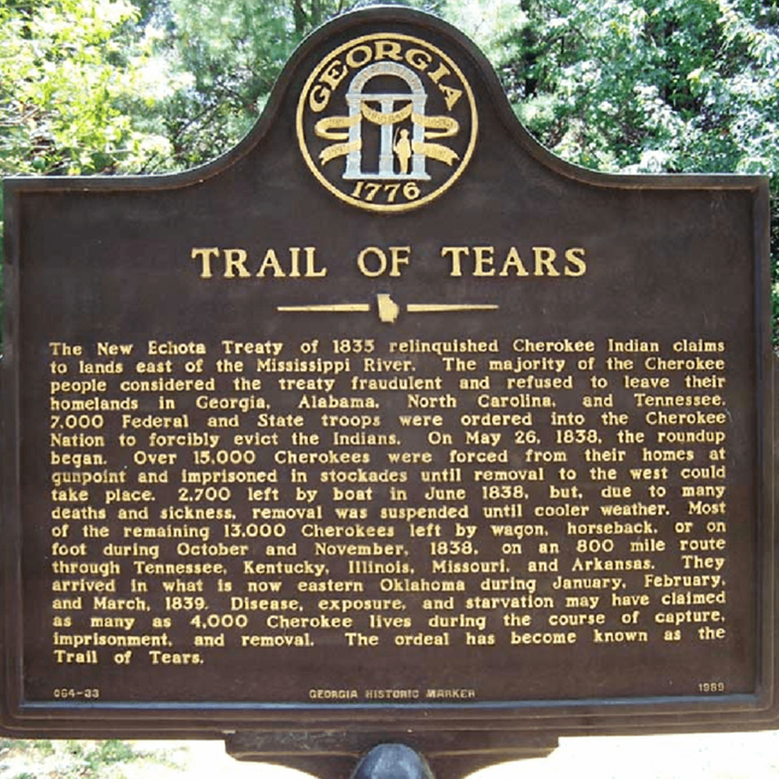 Trail of Tears Sign (Source: Channelview Independent School District)