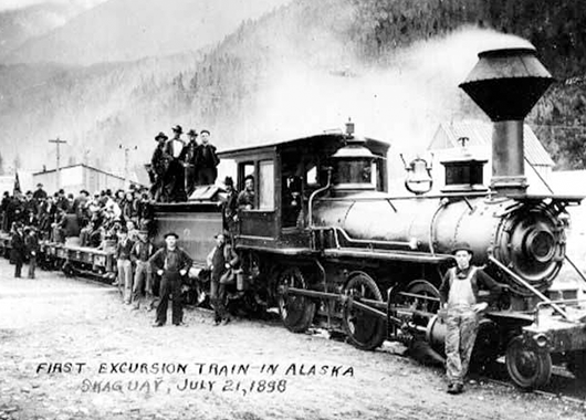 The first excursion train in Skagway, Alaska (Source: UW Libraries Digital Collection/Flickr)