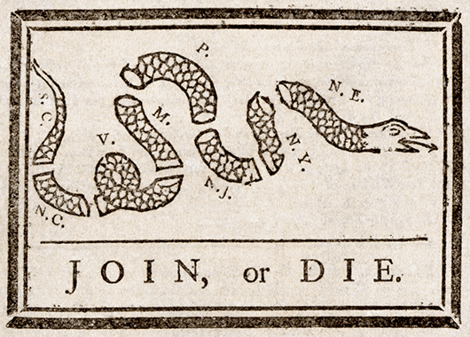 """Benjamin Franklin's infamous """"Join or Die"""" cartoon from 1754 (Source: Wikimedia Commons)"""