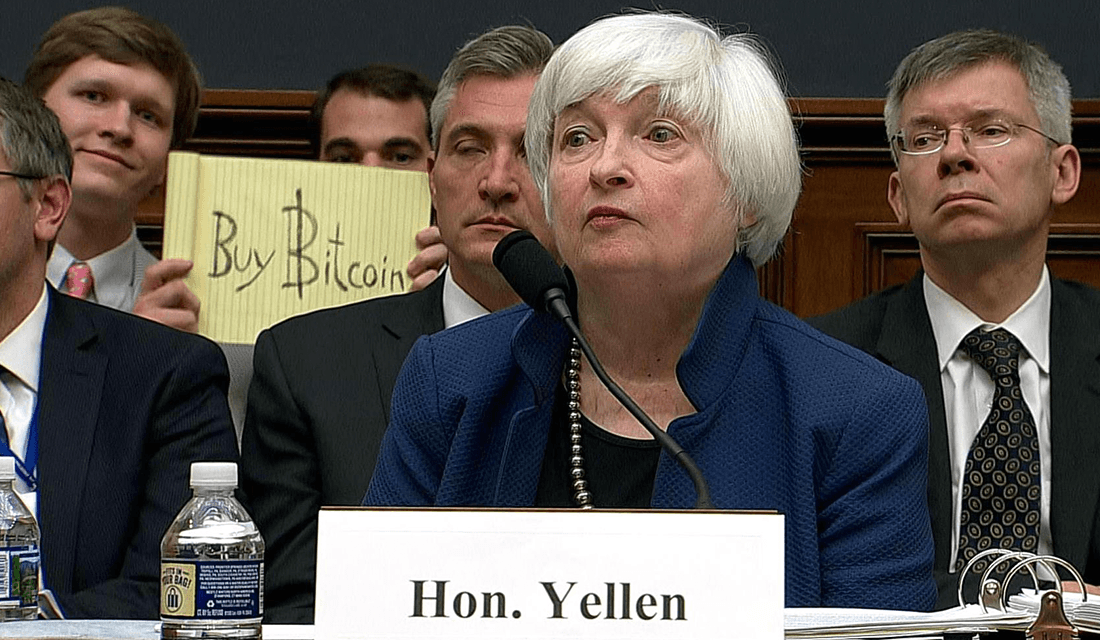 Buy Bitcoin Sign at Janet Yellen's Testimony (Source: CNBC)