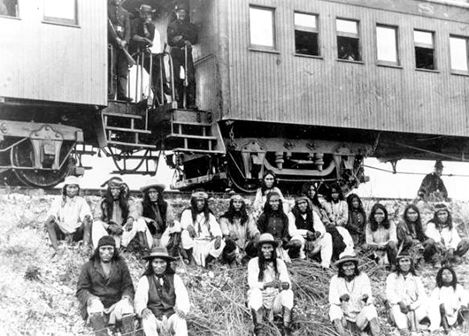 Geronimo and fellow Apache Indian prisoners on their way to Florida by train (Source: Florida Memory/Flickr)