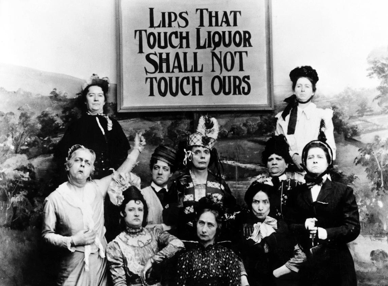 "Still from the 1901 movie ""Kansas Saloon Smashers,"" satirizing woman teetotalers (Source: Wikimedia Commons)"