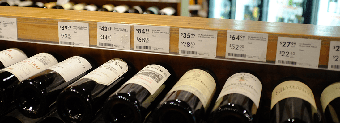 Row of Wine with Prices