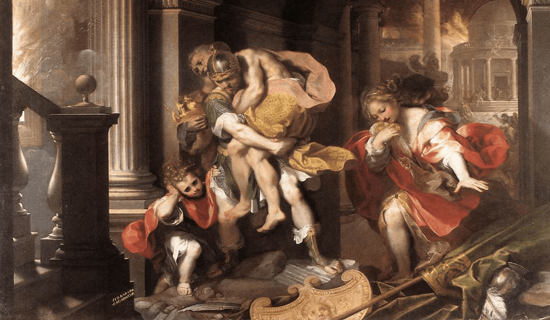 """1598 painting titled """"Aeneas' Flight from Troy"""" by Federico Barocci (Source: Galleria Borghese/Wikimedia Commons)"""
