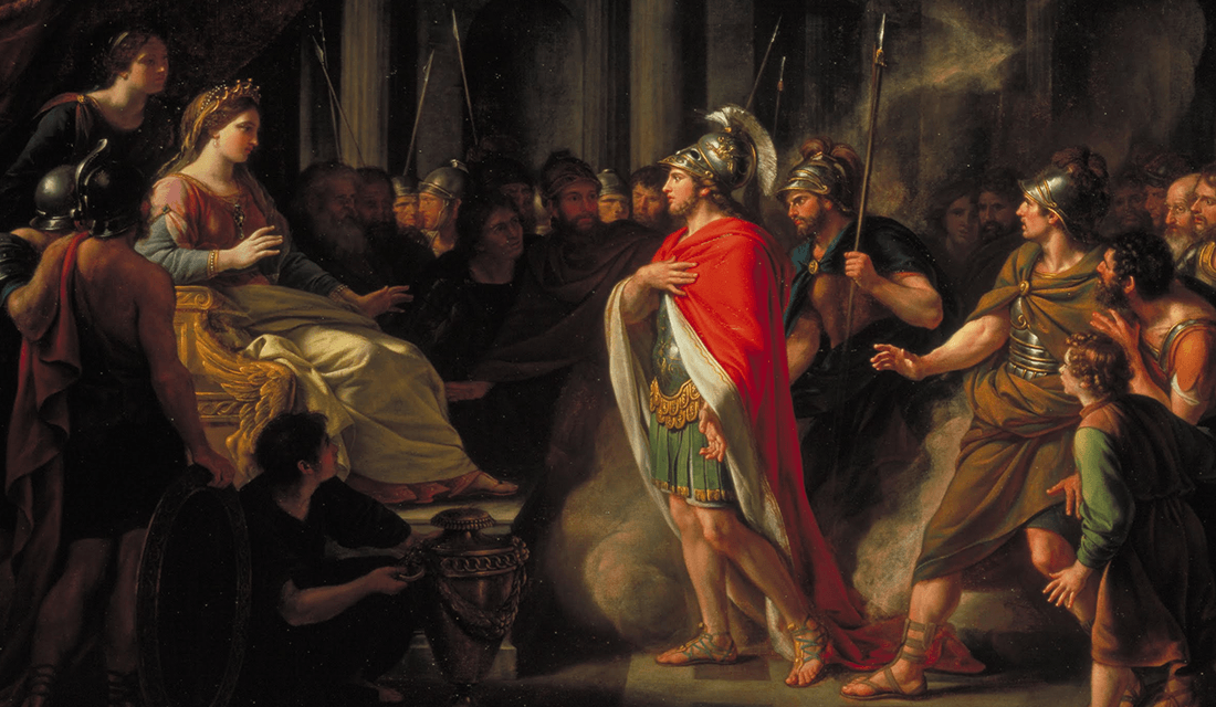 "1766 painting titled ""The Meeting of Dido and Aeneas"" by Nathaniel Dance-Holland (Source: Tate Britain/Wikimedia Commons)"