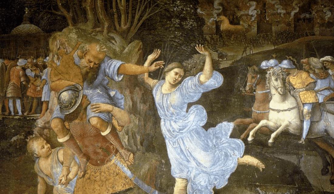 "c. 1507-1510 fresco titled ""Flight of Aeneas from Troy"" by Girolamo Genga (Source: Pinacoteca Nazionale/Wikimedia Commons)"