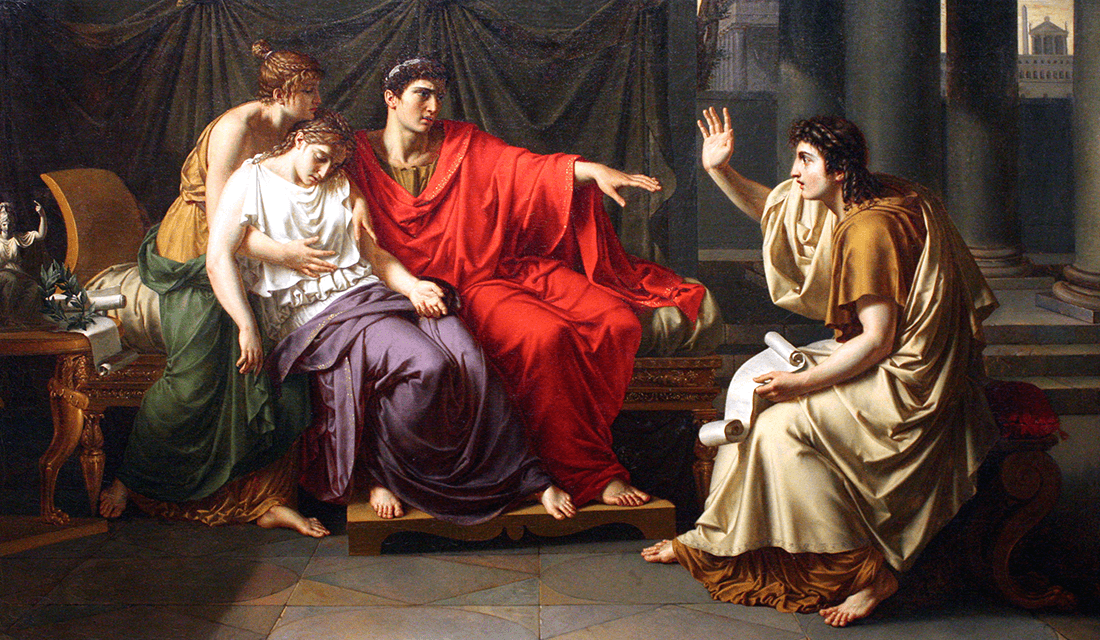 """c. 1790-1793 painting titled """"Virgil Reading the Aeneid to Augustus, Octavia, and Livia"""" by Jean Baptiste-Wicar (Source: Art Institute of Chicago/Wikimedia Commons)"""