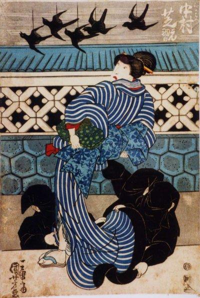 Woodblock print by Utagawa Kuniyoshi of actor Nakamura Shikan II as Ohatsu in the kabuki play Sakura doki onna gyoretsu, showing three Kurogo, 3rd month of 1832 (Source: Utagawa Kuniyoshi/Wikimedia Commons)